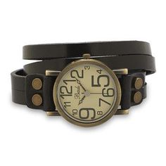 "14"" - 15"" adjustable double strand black leather fashion wrap watch. The watch case is approximately 35mm, with a brushed antique bronze look. The watch has fun, oversized numbers on the face, and a s"