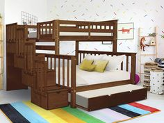 Bunk Beds With Drawers, Under Bed Drawers, Bunk Bed With Trundle, Bunk Beds For Sale, Cool Bunk Beds, Kids Bunk Beds, Bunk Bed King, Bed Shelves, Bed Design