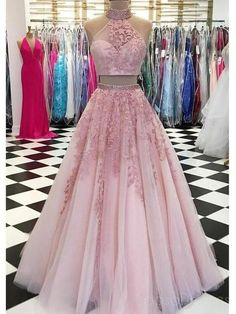 Customized Morden Evening Dress Long, Prom Dress Pink, Prom Dress Two Piece, Prom Dress Lace Prom Dress Two Piece, Two Piece Evening Dresses, Evening Dress Long, Lace Evening Dresses, The Dress, Elegant Dresses, Evening Party, Evening Gowns, Two Piece Gown