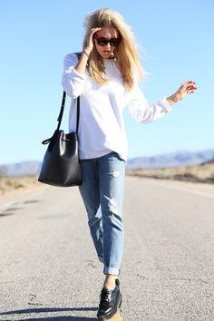 white tee + distressed jeans + black shoes // Peace Love Shea