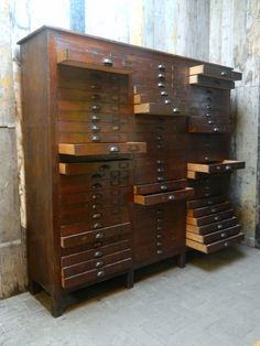 this is the apothecary style cabinet to end all cabinets. Industrial Furniture, Antique Furniture, Cool Furniture, Furniture Design, Modern Furniture, Rustic Furniture, Furniture Storage, Outdoor Furniture, Bead Storage
