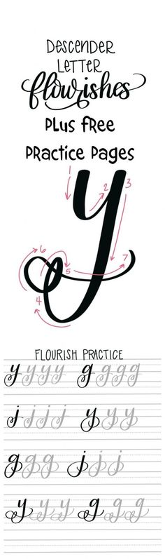 Flourishes in Hand Lettering: Free Practice Pages
