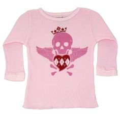 Rattle Me Organic Thermal Skull Pink, 18 to 24 Months 100% certified organic cotton made with no harsh pesticides, herbicides or synthetic fertilizers. Hip and trendy designs that look good on both boys and girls. Made sweatshop-free in the USA. Super soft hand feel. Pre-washed and dyed for minimal shrinkage.  #Rattle_Me_Organics #Apparel