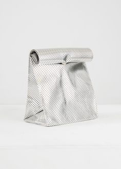 silver perforated foldover clutch x smk. Foldover Clutch, Clutch Purse, Gold Bottles, Color Plata, Fair Trade Fashion, Scarf Hat, Packaging Design Inspiration, Pouch Bag, Textile Prints
