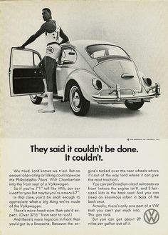 """They said it couldn't be done. It couldn't."", Volkswagen Beetle, Doyle Dane Bernbach, 1966"