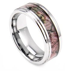 King Will Tungsten Ring 8mm Beveled Edge Hunting Camoflage Wedding Band