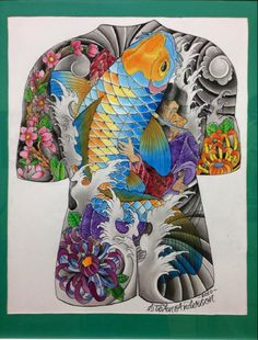 An original Japanese style body suit painting by Steve
