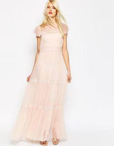 Needle+&+Thread+Chiffon+Lace+Gown+Maxi+Dress