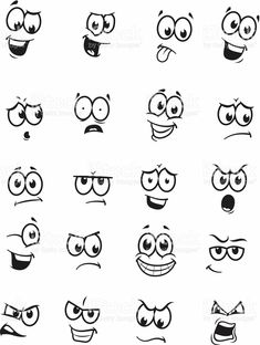 of 20 cartoon faces royalty-free stock vector art Art Vector drawings of different expressions/emotions.Set of 20 cartoon faces royalty-free stock vector art Art Vector drawings of different expressions/emotions. Doodle Drawings, Doodle Art, Easy Drawings, Simple Cartoon Drawings, Cartoon Eyes Drawing, Drawing Cartoons, Funny Drawings, Face Expressions, Pebble Art