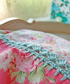 pillowcase with crochet trim    Rosy Blush by rosehip on Etsy, $31.00