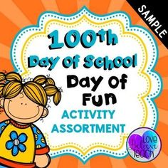 Day of School Math and Literacy Activities Elementary Teacher, Elementary Schools, Book Challenge, Language Activities, 100 Days Of School, Writing Workshop, School Snacks, 100th Day