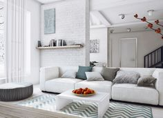 Living room in white, grey and petrol via Home Designing