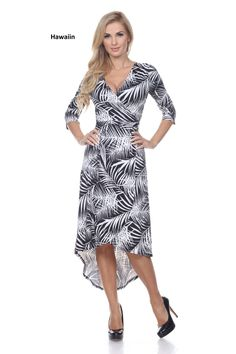 Designed to slip on and go this getaway-ready cover-up/ dress combines a crossover wrap with flirty high-low hem and a self-tie belt. The allover print and 3/4-length sleeves make this dress elegant yet comfortable.