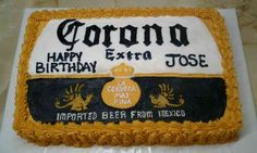 Corona Beer This cake is covered with buttercream icing. The writing and logo is all free-handed Corona Cake, Corona Beer, Corona Extra, Barbie Birthday, Birthday Cake, Birthday Beer, Birthday Ideas, Happy Birthday, Husband Birthday