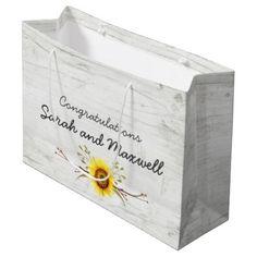 Sunflower & Rustic Wood Wedding Congratulations Large Gift Bag - wood gifts ideas diy cyo natural