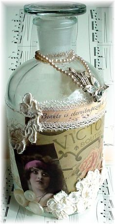 Alterd Bottle OOAK by trashtotreasureart on Etsy