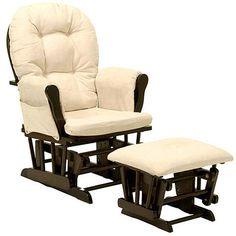 $129!!!! Storkcraft - Bowback Glider Rocker and Ottoman Espresso Finish, Beige Cushions