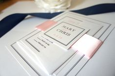 Elegant Pink and Blue Wedding Invitation, Classic Wedding Invitation, Belly Band, Pink Wedding Invites, Navy and Pink Wedding - DEPOSIT