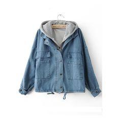 Light Blue Hooded Long Sleeve Pockets Denim Coat ($46) ❤ liked on Polyvore