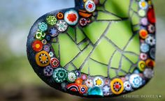 Love the use of millefiori.  Small Wall Art/ Ornaments 2014 - - Cherie Bosela - Fine Art Mosaics & Photography - Clay Ornaments, Hanging Ornaments, Diy Christmas Ornaments, Mosaic Wall, Mosaic Glass, Glass Art, Sea Glass, Mosaic Designs, Mosaic Patterns