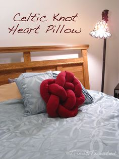 DIY Celtic Knot Heart Pillow: Tried&Twisted.blogspot.com  Love this! And you can make other designs by playing around...genius!