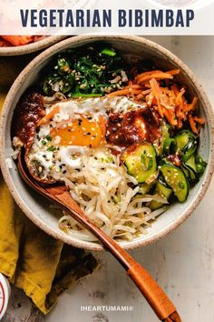 Vegetarian Bibimbap Recipe with bibimbap sauce, made gluten-free and soy-free. This Korean bibimbap rice bowl is easy to make and yummy healthy! #bibimbap #koreanrecipes #bibimbapsauce #gochujang #glutenfree Paleo Meal Prep, Whole30 Dinner Recipes, Paleo Recipes Easy, Asian Recipes, Whole Food Recipes, Vegetarian Recipes Korean, Fun Recipes, Paleo Dinner, Healthy Recipes