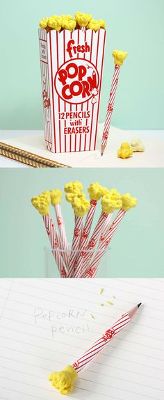 If you are into fun and unique stationery, check out this pencil set resembling popcorn! This set includes 12 food-themed pencils which have real popcorn like erasers! Stationary School, Cute Stationary, Stationary Design, School Accessories, Locker Accessories, Diy And Crafts, Paper Crafts, Cute Pens, Back To School Supplies