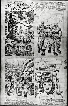 "Scan of a print-size photostat of Kirby's pencil art for page 4 of ""What lurks behind the beehive?"" published in Marvel Comics' Fantastic Four 66, dated   September 1967. Also, a note from Sol Brodsky and some balloon placement from Stan Lee."