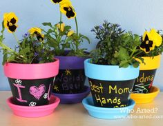 Flowers are an essential detail that every little private paradise must contain. On your pots can print the most diverse motivational messages or a dedicated. Here's an idea how the crayon used for that purpose!
