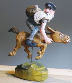 """ US Mule and Young Eddie McSkonk"" character from Dogpatch USA, carved by Harold Enlow"