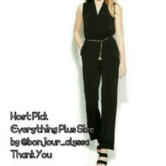 $40 off Sale HP Calvin Klein Surplice Jumpsuit Very popular.  Sold out everywhere! Get it here first  Calvin Klein Surplice Closure: Hidden Side Zipper Waist Across: 16 1/2 Inches Inseam 31 Inches Rise: 16 Inches Bust Across: 19 1/2 Inches Material: 95% Polyester/5% Spandex Fabric Type: Matte Jersey Gold tone belt detail in the front Style Number: M5DD7802 Calvin Klein Pants Jumpsuits & Rompers