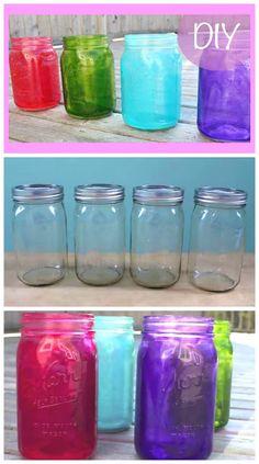 DIY Colored Tinted Mason Jars