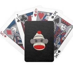 Sock Monkey Face Poker Deck - Found on zazzle.com