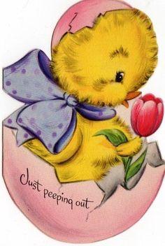 Easter Chick Vintage Halloween Cards, Vintage Holiday, Happy Easter, Easter Bunny, Easter Card, Easter Ideas, Easter Crafts, Easter Printables, Easter Holidays