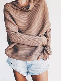 Sweater with cut off denim