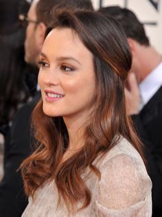 To create something a bit more earthy, opt for Leighton Meester's Golden Globes look. When pulled back, perfectly placed face-framing highlights create somewhat of a hippie faux-headband effect.