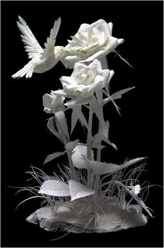 """The """"Hummin' in the Roses"""", by Patty Eckman (Paper Sculptures). I like all art about hummingbirds, this is special one."""