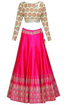 Anju Modi presents Mint green persian floral print blouse and hot pink lehenga set available only at Pernia's Pop Up Shop. Pink Lehenga, Bridal Lehenga, Lehenga Choli, Anarkali, Sarees, Lehenga Blouse, Indian Wedding Outfits, Indian Outfits, Wedding Dresses