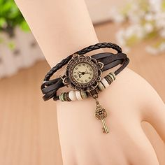 Retro Quarzuhr Armreif Leder Armbanduhr Damenuhr Uhr Kaffeebraun Schlüssel Schwarz - http://uhr.haus/sanwood/schwarz-retro-quarzuhr-armreif-leder-armbanduhr