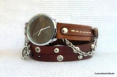 Leather Wrap Watch Love Womens leather by CuckooNestArtStudio, $56.00
