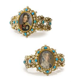 """PAIR OF GOLD BRACELETS, BEADS, SEED PEARL AND TURQUOISE WITH TWO MINIATURES ON IVORY, ATTRIBUTED TO SUCH MELLERIO MELLER BRACELETS ARE ASSIGNED TO SUCH MELLERIO MELLER, PARIS, THE MINIATURE BY FRANÇOIS MEURET (1800-1887), SIGNED THE KING """"MEURET"""" (RIGHT), THE QUEEN'S MONOGRAMMED """"M."""" (LEFT)"""