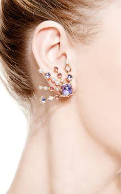 Large Bella Starburst Spray Earrings In Blue Multi by Larkspur & Hawk for Preorder on Moda Operandi