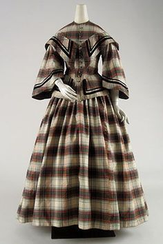 1860 Day Dress in Tartan