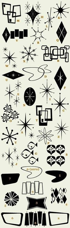 Atomic design symbols mid century modern Letterhead Fonts / LHF Bomber / Retro Fonts <------ NEED! Or shall attempt to draw in AiI ASAP! Motif Vintage, Vintage Design, Retro Design, 1950s Design, Retro Kunst, Retro Art, Retro Vintage, Retro Pics, Vintage Baking