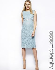 Image 1 of ASOS Maternity Exclusive Lace Body-Conscious Dress With Ribbon Detail