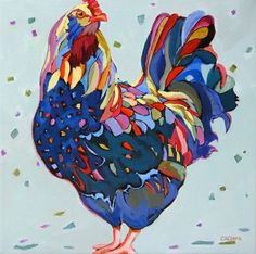 Contemporary painting of a chicken Big Blue, painting by artist Carolee Clark
