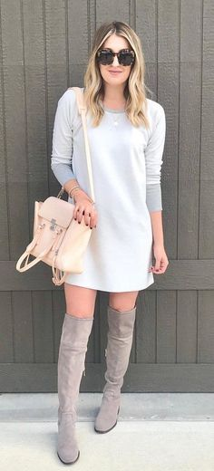 #fall #outfits women's gray scoop-neck long-sleeve mini dress and gray knee-high suede boots. Click To Shop This Look.