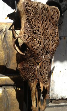 Beautiful Hand Carved Steer/ Cow Skull with Horns/ by AureusArts