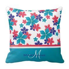 Girly Bright Spring Sakura Pattern Monogram Pillows
