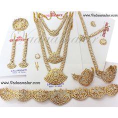 Buy Bridal jewelry set White stone jewellery set Bharatanatyam kuchipudi ornaments Online